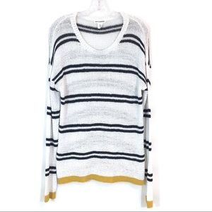 Artisan NY White & Blue Striped Sweater Open Knit